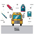 color poster of back to school with school bus in vector image