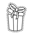 gift box ribbon new package open cut line vector image