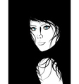Girl with Black Hair Lineart3 vector image