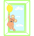 Greeting card with animal and balloon vector image