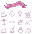 Object valentine day icons collection vector image