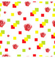 seamless pattern with roses and squares vector image