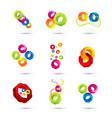 set of minimal geometric multicolor symbol set vector image