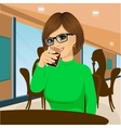 young woman with glasses drinking beverage vector image