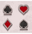 poker icons stone texture Card suit vector image