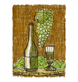 wine still life painting vector image