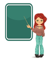 Girl pointing to blackboard vector image