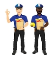 two policemen holding paper bags full of fast food vector image