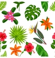 Seamless pattern with tropical plants leaves and vector image vector image