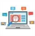 Laptop with online shopping icons vector image vector image