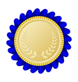 Gold medallion with blue ribbon vector image