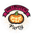 halloween party logo with smiling pumpkin vector image