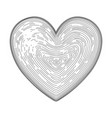 heart symbol hand drawn like fingerprint print vector image