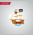 isolated pirate flat icon vessel element vector image