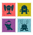 set of retro postage stamp with funny monsters vector image