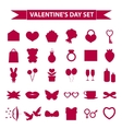 Valentines Day icon set silhouette style Love vector image