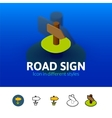 Road sign icon in different style vector image