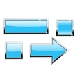 Blue buttons with chrome frame vector image