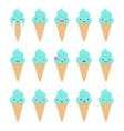 set of cute ice cream emoji vector image vector image