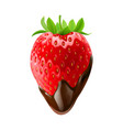 strawberry with leaves in chocolate dipping on vector image