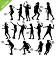 Women silhouettes play Badminton vector image vector image