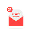 39 years anniversary icon in red open letter vector image