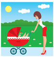 mother and carriage vector image
