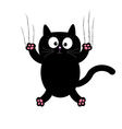 Cartoon black cat claw scratch glass White vector image