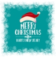 Christmas card with Santa hat and border vector image