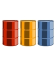 Red yellow and blue steel oil barrels vector image