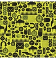 Seamless pattern with watch on green vector image