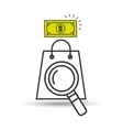 searching bag shop money design vector image