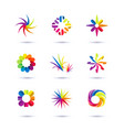set of minimal geometric multicolor floral vector image