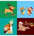 set animals winter holiday North Pole vector image