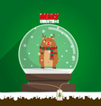Merry Christmas reindeer in snow globe vector image