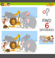 find differences game with animals vector image vector image
