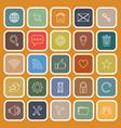 website flat icons on orange background vector image