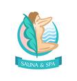 Sauna and SPA logo template Sitting woman vector image