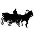 Silhouette horse and carriage with coachman vector image vector image