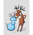 deer sculpts snowman vector image