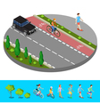 Isometric City Bike Path with Bicyclist Footpath vector image