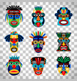 aztec mask set on transparent background vector image