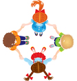Four Kids Joining Hands to Form a Circle isolated vector image