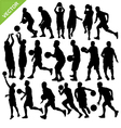 Men play basketball silhouettes vector image