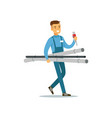 proffesional plumber man character walking with vector image
