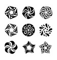 set of sun stars flowers shapes for logo design vector image