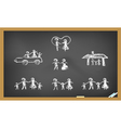 Doodle happy family on blackboard vector image