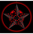 Black 3D star over red and black background vector image vector image
