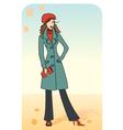 Nice woman in a warm coat vector image vector image