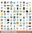 100 robotics icons set flat style vector image